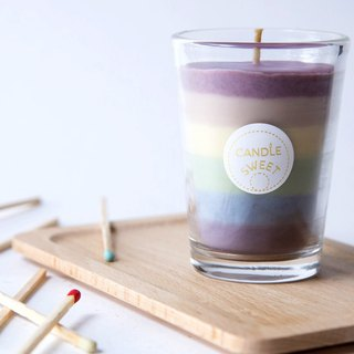 Rainbow Candle - Soy Unscented Candle 120ml //Send limited color long matches