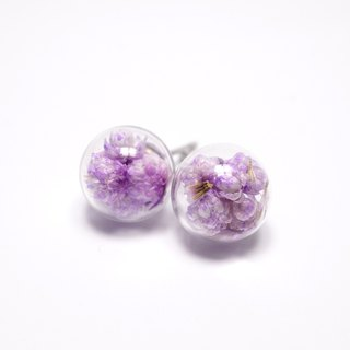 A Handmade pink and purple millet flower glass ball earrings
