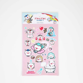 Stars rabbit cute monkey business stickers (pink)