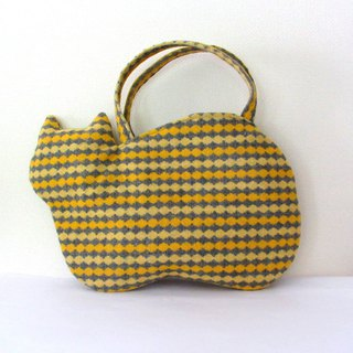 New woolen cat bag Yellow and gray stripe