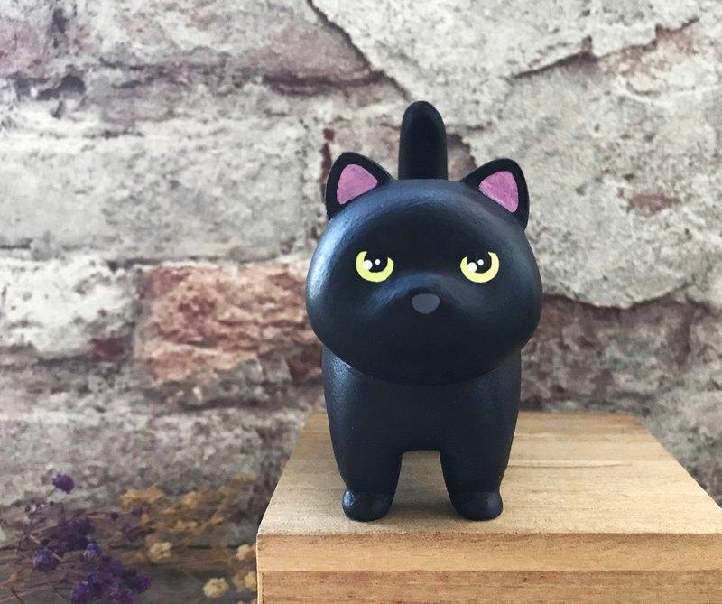 厭世小黑貓擺飾 客製化 貓咪 手工木製療癒小木雕公仔