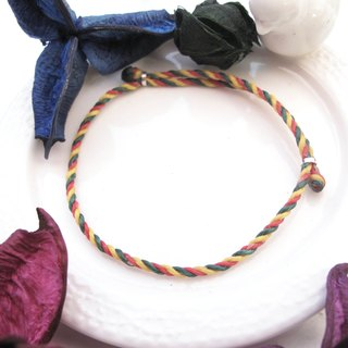 囡仔仔仔[Handmade] Jamaica × wax rope bracelet bright yellow red green