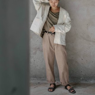 Not complete | light khaki tea dyed loose casual overalls natural plant dyed casual long pants