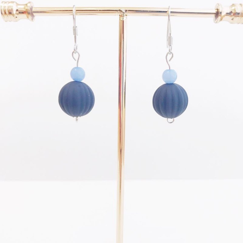 Sapphire Blue Beads Earrings Japanese Style Birthday Gifts Sisters Gifts Pastel Blue Navy Dangle Earrings Japanese Style Birthday Gifts