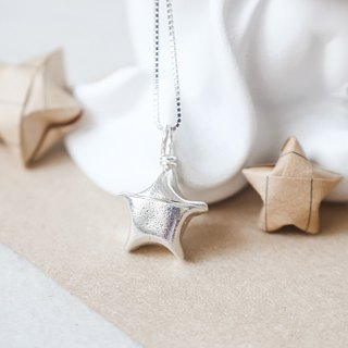 Green Rivor 925 Silver Origami Lucky Star Necklace