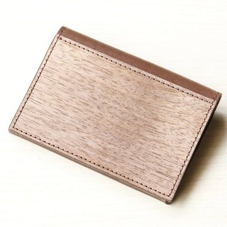 Wood leather coin purse