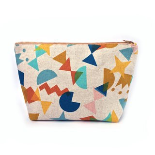 纯棉化妆包/杂物包 Canvas Large Zipper Pouch Clutch - Fun Shape Cutout