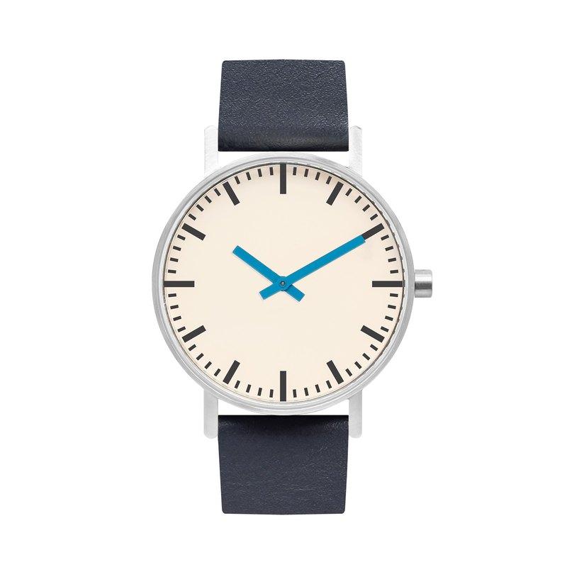 BIJOUONE B50系列手錶藍色指針深藍色皮表帶簡約防水個性設計男女