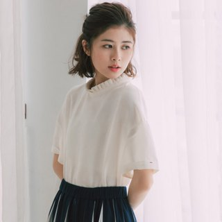 Flower collar cotton and linen short-sleeved shirt - white moonlight