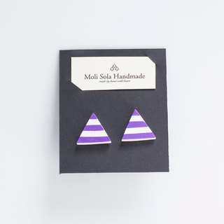 Hand made triangular clay earrings earrings purple article ornaments