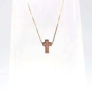 Silver Cross Necklace Thick Rose Gold Length 10mm Pendant Rose Gold Plated Chain
