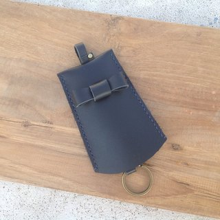 Bow Key Bags. Key ring, key, telescopic hand-stitched, leather [time leather] black