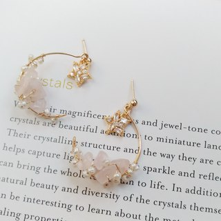 Xingyue Whisper Pink Crystal Crushed Stone & Natural Freshwater Pearl 14K Gold Earrings
