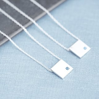 2 set) Aquamarine square pair necklace 925 Silver