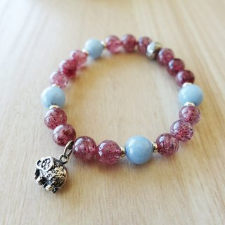 Love angels. Strawberry Stone Crystal Angel Silver Charm Bracelet