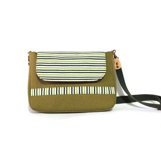 Green striped small shoulder bag, crossbody bag, handmade, canvas