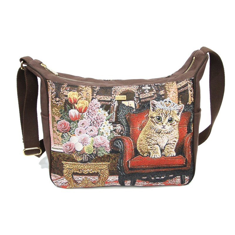 Princess Ti cat meow texture painting ear messenger bag coffee -REORE