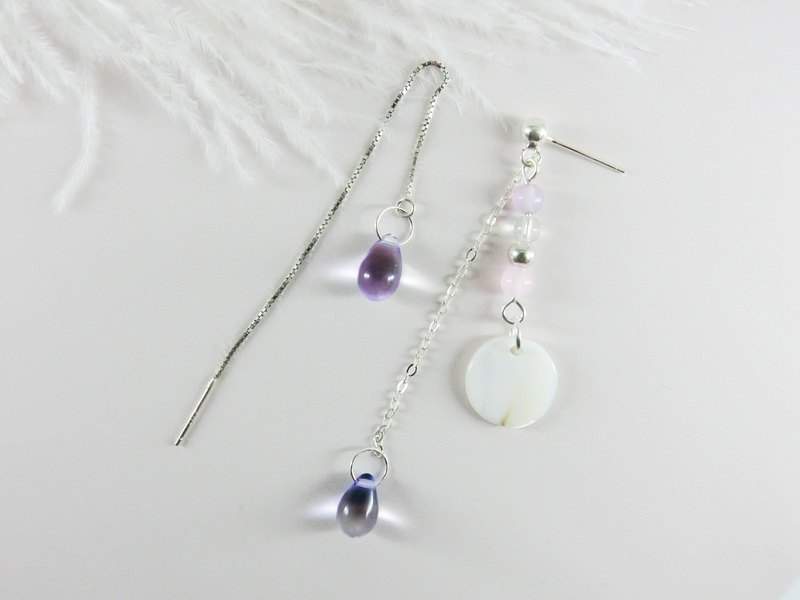 Purple blue beads silver earrings │ purple blue unicorn natural stone 925 sterling silver Tibetan silver