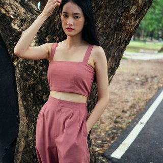 (SIZE S) ROSE PINK COTTON LINEN TUBE CROP TOP WITH STRAP AND BACK SHIRRING