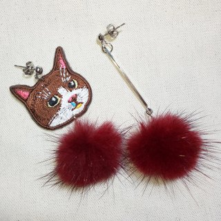 Cat hair ball earrings (pin / clip)