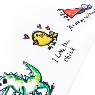 Cute Couple Match Temporary Tattoo Sticker Lovely Kids Drawing dinosaur Superman