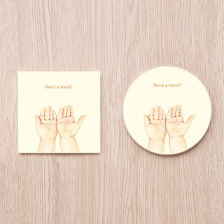 Hand it over baby's hand ceramic coaster