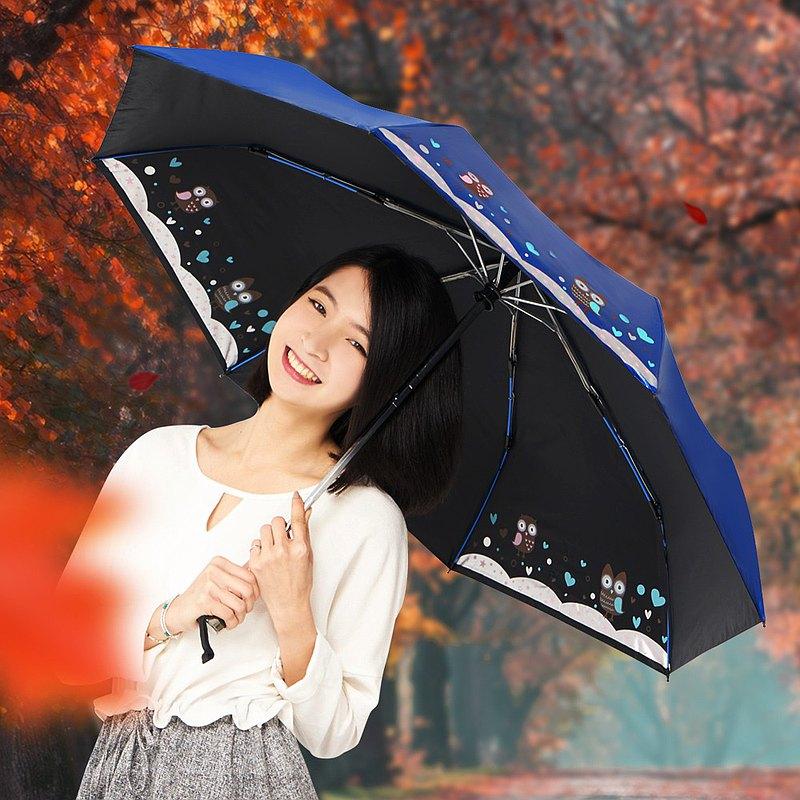 雙龍牌貓頭鷹感溫變色抗UV降溫黑膠自動開收傘自動傘晴雨傘折傘