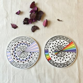 Ceramic Tangles Coaster/ Rainbow。Balance。Duo Set