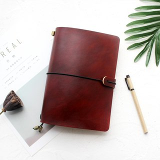 Red brown leather hand book leather notebook / diary / travel book / can be customized free lettering