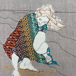 Shellfinder, thread drawing textile artwork