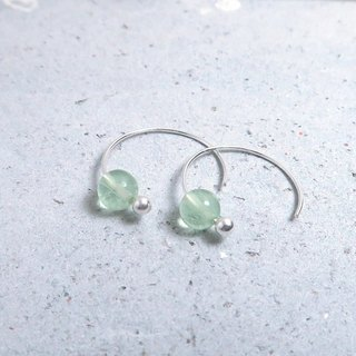 Green Fluorescent Crescent Earring (Large) - 925 Sterling Silver Natural Stone Ear Pin