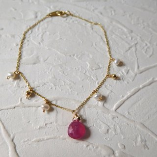 Pure 14K gold pendant red treasure k gold ball pearl bracelet length can be customized
