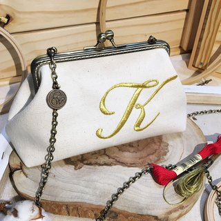 Custom Embroidery- Handmade 2way  frame bag -off white/gold