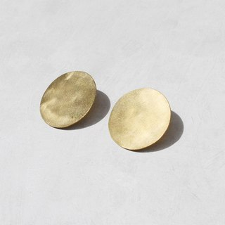 Simple Brass Disc Earrings - 925 Sterling Silver Ear Pins
