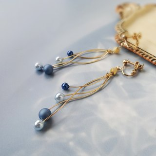 falling blue pearl Earrings