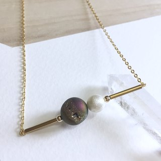 My little Planet  Plated purple Agate Necklace