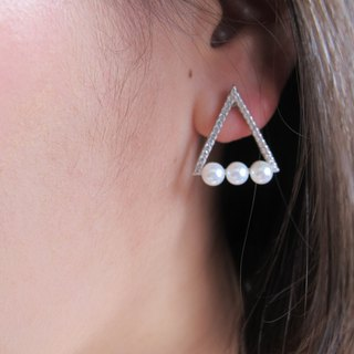 Pearl string champagne earrings