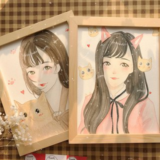 ◆ SS. Yan Feng Hua @ 10-inch single (delicate style) watercolor hand-painted photo cartoon portrait painting