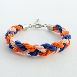 Orange/Navy blue braided bracelet