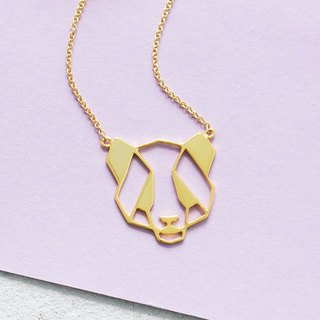Panda Necklace in Brass with 14k Yellow Gold
