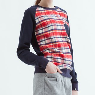 Cute Sweatshirt With Check Front - Red