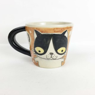 Nice Little Clay wide mouth mug two surprised little cat 01062-09