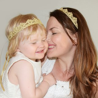 Gold Crown Headband Set for Mommy and Me, Metallic Golden Matching Headbands for Mother and Daughter