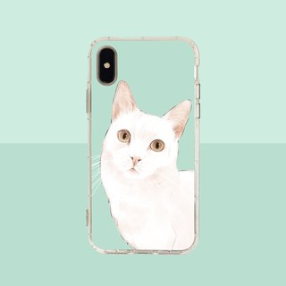 Big face white cat embossed air shell - iPhone / Samsung, HTC.OPPO.ASUS pet phone case