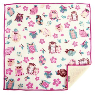 【IMA】WAFUKA Japan made Absorben, Soft, Cute & Unique Handkerchief - Sakura Owl
