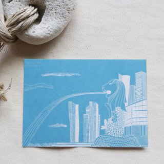 Travel Scenery Singapore - Merlion / Illustration Postcard