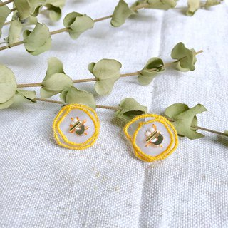 Handmade embroidery / / water beads flower double layer earrings / can be changed clip