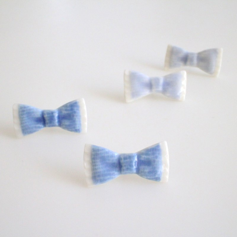 Denim ribbon earrings