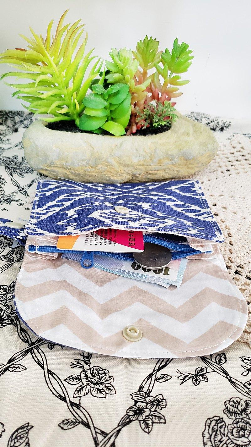 北歐藍色圖案雙層小收納袋/小卡片包/口罩收纳/多功能小包/零錢包