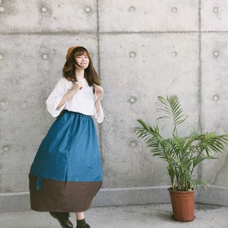 Parabolic patchwork skirts | sky blue fight brown